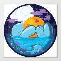 dragonball Canvas Prints featuring Quagsire & Dragonball by Valechu