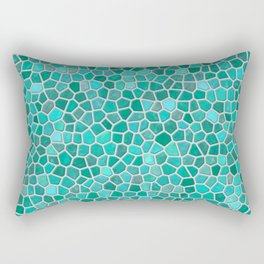 Faux Stone Mosaic in Lighter Turquoise Rectangular Pillow
