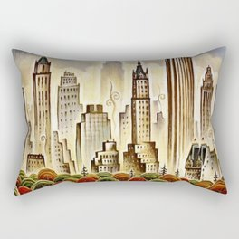 Vintage New York Central Park United Airlines Advertisement Poster Rectangular Pillow