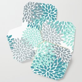 Floral Pattern, Aqua, Teal, Turquoise and Gray Coaster