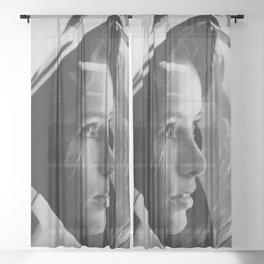 NASA Astronaut, Anna Fisher, black and white photograph Sheer Curtain
