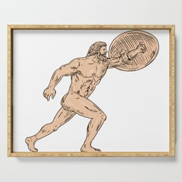 Hercules With Shield Going Forward Drawing Serving Tray