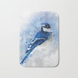 Watercolour blue jay bird Bath Mat