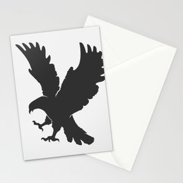 vector silhouette flying eagle on a white background Stationery Cards