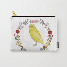 Canary in Floral Wreath Carry-All Pouch