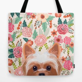 Yorkshire Terrier floral dog portrait pink cute art gifts for yorkie dog breed lovers Tote Bag