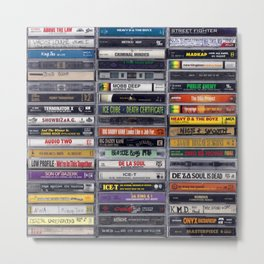 Old 80's and 90's Hip Hop Tapes v2 Metal Print