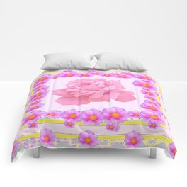 "ORIGINAL PINK ART OF THE ""FRAGRANCE OF PINK ROSES"" Comforters"