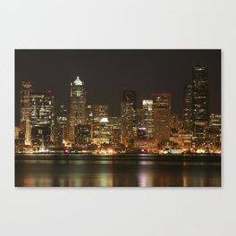 Seattle Skyline - Alki (No Color On Seattle Great Wheel) Canvas Print