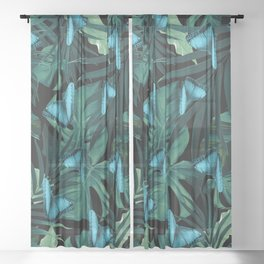 Tropical Butterfly Jungle Night Leaves Pattern #5 #tropical #decor #art #society6 Sheer Curtain