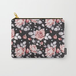 Vintage Pink Rose Flowers Carry-All Pouch