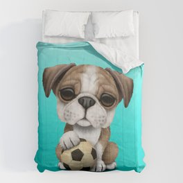 Cute British Bulldog Puppy With Football Soccer Ball Comforters