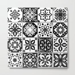 black white tiles Metal Print