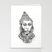 hindu Stationery Cards featuring Hindu Deity (Hanuman) by The Artful Yogini