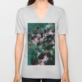 Contemporary Abstract Wall Art in Green / Teal Color Unisex V-Neck