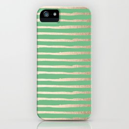 Abstract Stripes Gold Tropical Green iPhone Case