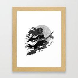 Inktober Broom Ride Framed Art Print