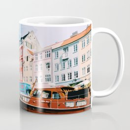 Digital Illustration of Copenhagen's Nyhavn Seen from the Boat, on a Bright and Sunny Day Coffee Mug