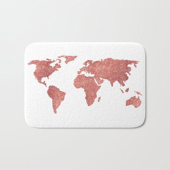 World Map Rose Gold Glitter Bath Mat