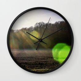 Countryside in the Ticino river natural park during winter before sunset Wall Clock