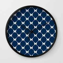 Blue photons with butterflies Wall Clock