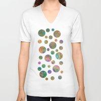 circles V-neck T-shirts featuring Circles by Klara Acel