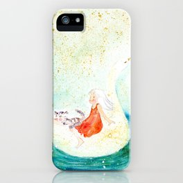 a girl with a cat enjoy traveling on the swan boat iPhone Case