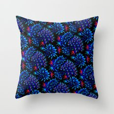 Cactus Floral - Bright Blue/Red Throw Pillow