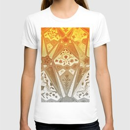 indian wall Painting Mosaic Flowers - yellow T-shirt