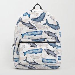 Ocean whales in watercolor Backpack