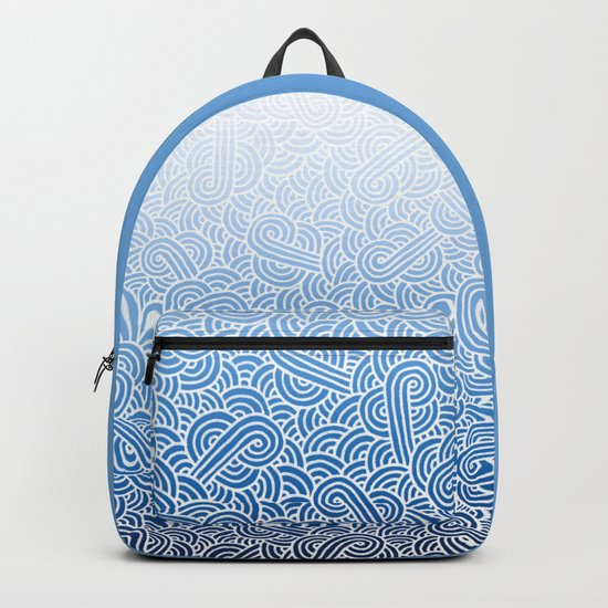 Ombre blue and white swirls doodles Backpack