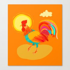 Orange Rooster Canvas Print