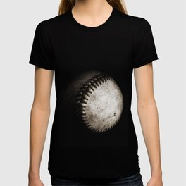 Battered Baseball in Black and White T-shirt