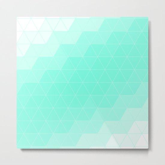 Green Mint Triangle Metal Print
