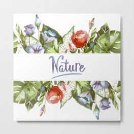 Nature, Tropical Floral Watercolor Metal Print