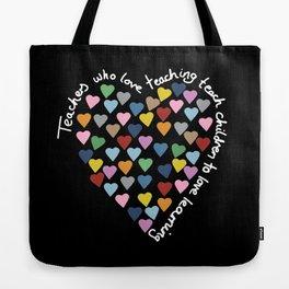Hearts Heart Teacher Black Tote Bag