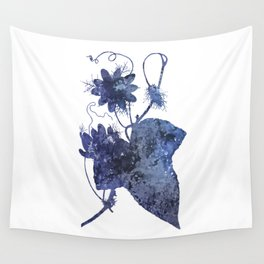Watercolor Indigo Passion Flower Wall Tapestry