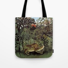 THE HUNGRY LION ATTACKING AN ANTELOPE - ROUSSEAU Tote Bag