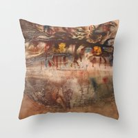 middle earth Throw Pillows featuring Middle of the Earth by Loredana
