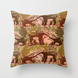 Badgers in Woodland Forest Plants under the Fall Sun, Cute Badger Mom & Baby in Woods Brown Green Throw Pillow