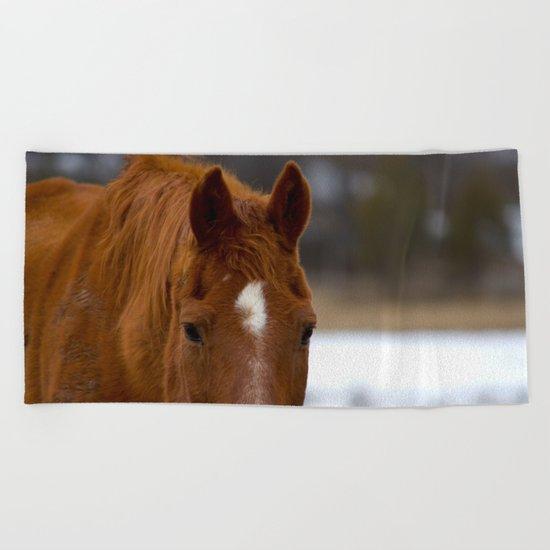 Red - The Auburn Horse Beach Towel
