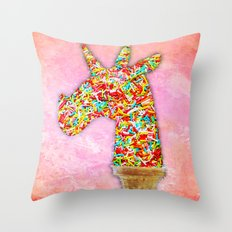 Sprinkled Unicorn Ice Cream Throw Pillow