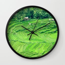 Mountainside rice paddies - Greg Katz Wall Clock
