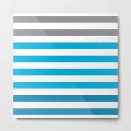 Stripes Gradient - Blue Metal Print