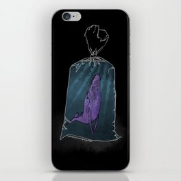 Purple whale in a plastic bag iPhone Skin