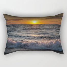 Lake Michigan Sunset with Crashing Shore Waves Rectangular Pillow