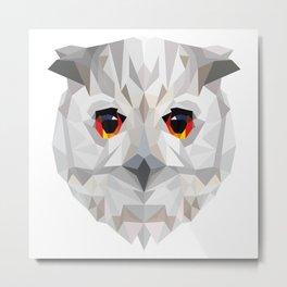 Geometric White Owl Metal Print