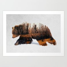Travelling Bear Art Print