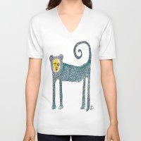 monkey V-neck T-shirts featuring Monkey by Dawn Patel Art