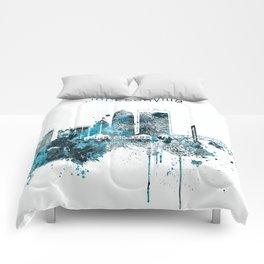 Jacksonville Monochrome Blue Skyline Comforters